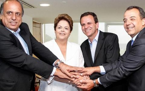 Pezão, Dilma, Eduardo Paes e Sérgio Cabral